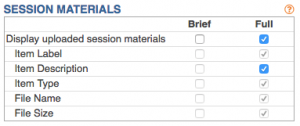 Session Materials Options